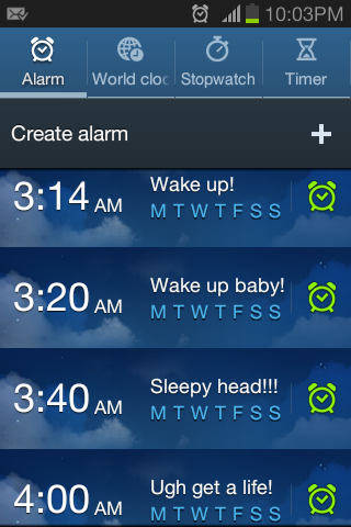 My Alarms, Hahha.