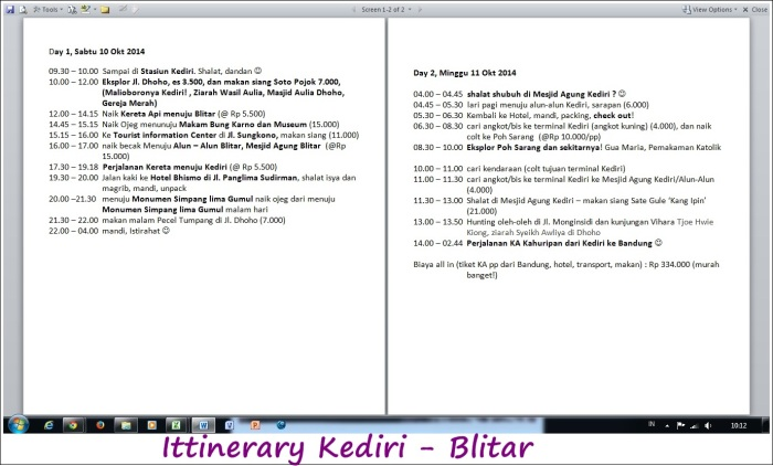 .. real itinerary trip Kediri - Blitar ..