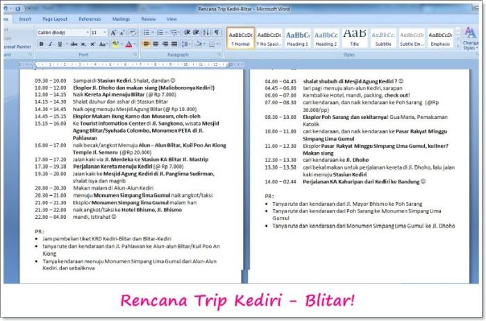 Rencana Itinerary Kediri-Blitar